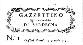 Il primo giornale sardo nasce nel 1793
